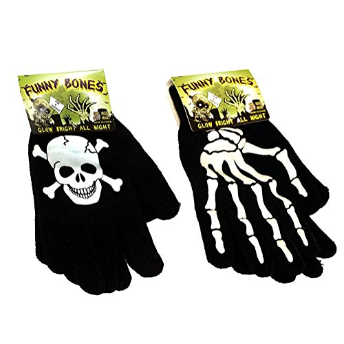 Funny Bones Glow in the Dark Gloves 2 Pack - Perfect for HALLOWEEN!