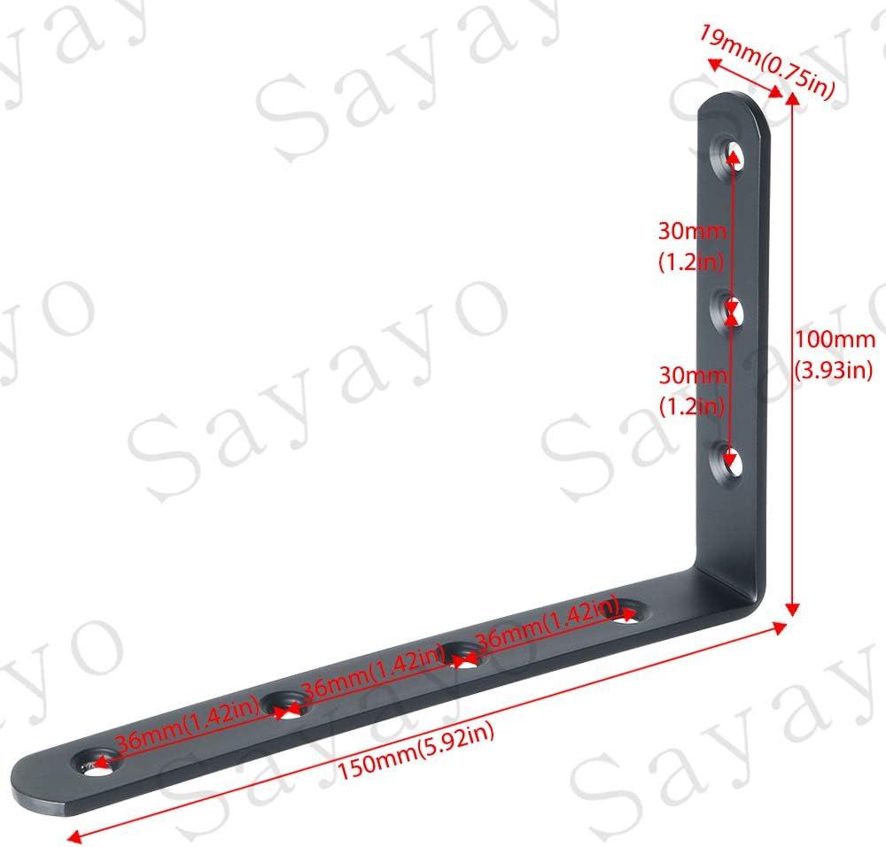 125 mm x 75 mm x 30 mm Gobesty /Équerre de fixation /étag/ère noire Support dangle Brace noir 4 pi/èces Supports angulaires droits noir equerre murale noir en forme de L acier inoxydable