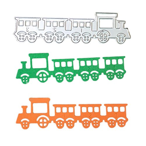Die Train - Quietcloud 1pcs Cartoon Train Style Metal Cutting Die Scrapbook Album Embossing Stencil Template Birthday Gift size 12.2cm x 3.3cm (Silver)