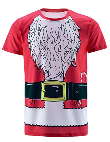 Funny World Men's Christmas Santa Claus Costume T-Shirts (L) ()