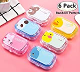 6 Pack Stylish Contact Lens Travel Cases with Holder &Mirror, Carnatory Portable Contact Lenses Boxes Contacts Lens Container Kit Set Storage Eye Care Kit with Tweezers