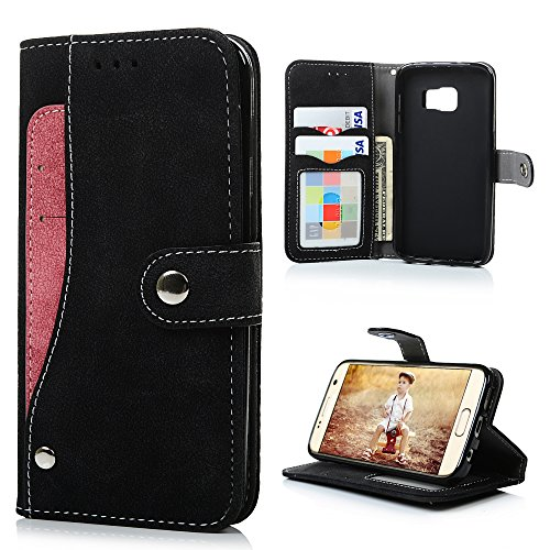 (S7 Case,Samsung Galaxy S7 Case(Non Edge) - Badalink Fancy Wallet Flip Folio Suede Leather Extra Card Holder Design Soft TPU Inner Cover with Snap Fastener & Card Holders & Photo Window - Black)