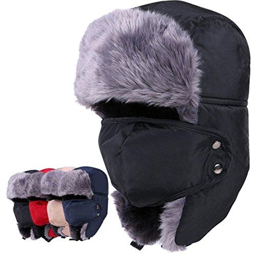 MAYMII Vintage Unisex Men Women Nylon Russian Style Winter Warm Ear Flap Earmuffs Aviator Pilot Hat Cap with mask