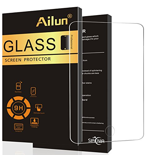 Ailun Screen Protector compatible iPad Air 2/1,Tempered Glass,Compatible Apple iPad Air 1&2 Generation,9H Hardness,2.5D Edge,Anti-Scratch,Case Friendly-Siania Retail Package