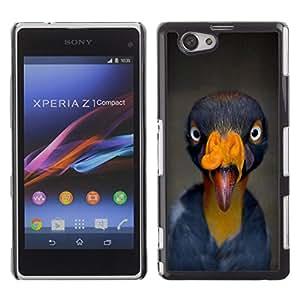 FlareStar Colour Printing Bird Beak Tropical Turkey Yellow Blue cáscara Funda Case Caso de plástico para Sony Xperia Z1 Compact / Z1 Mini / D5503