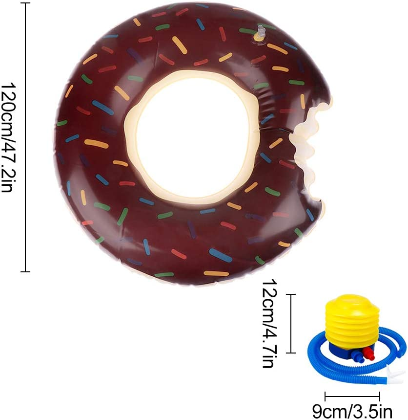 Funny Giant Inflatable Swim Ring with Hand Pump Chocolate Strawberry Summer Pool Beach Toy Holiday Donut Pool Tube for Children Kids Adults Chocolate 120cm Feelava Donut Pool Float