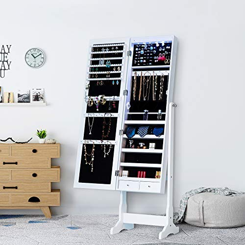 (Homevibes Jewelry Cabinet Jewelry Armoire 6 LED Lights Mirrored Makeup Lockable Free Standing Full Length Floor Mirror Tilting Storage Jewelry Organizer 2 Drawers, White)