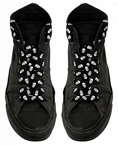 Shoe laces Black with White (Skull Shoelaces)