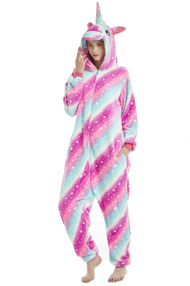 Rainbow Star Unicorn Onesie Costume for Adult Women and Teens,(L for Height 5'5''-5'8'')