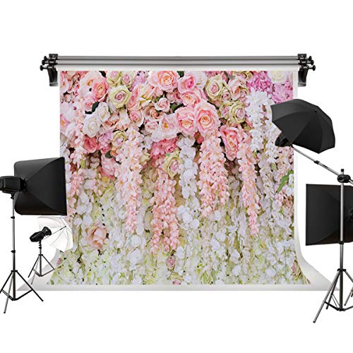 Dudaacvt 8x8ft Rose Floral Wall Wedding Bouquet Photography Backdrop Art Fabric Studio Pink Flowers Wall Photo Backdrop Q0210808