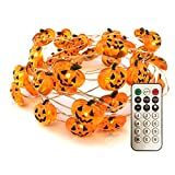 Halloween Pumpkin String Lights, 40LED Pumpkin String Lights Indoor/Outdoor, Halloween Decorations Remote Control, 3AA Battery Fairy Light Copper Wire String Lights(Orange)