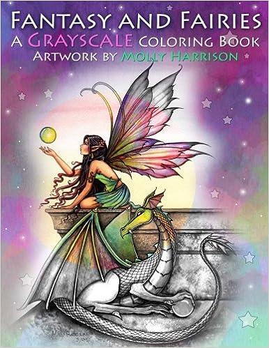 amazon fantasy and fairies a grayscale coloring book fairies