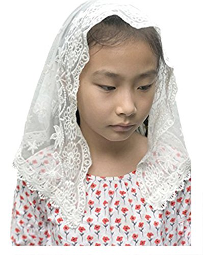 (Lemandy Flowergirl Floret Edge Headband Soft Lace Veil Headwrap for Girls F08 (Ivory))
