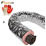 Toucan City Nitrile Dip Gloves and Master Flow 8 in. x 25 ft. Insulated Flexible Duct R6 Silver Jacket F6IFD8X300