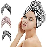UMUM Hair Towel Wrap, 3 Pack Bamboo Hair Drying Towel Turban with Button, Quick Dry Hair Hat Cap for Women, Anti Frizz Absorbent & Ultra Soft Bath Cap for Curly