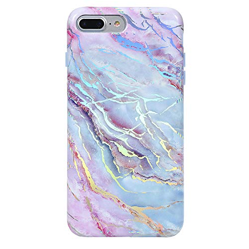 Holographic Pink Blue Marble iPhone 8 Plus Case/iPhone 7 Plus Case - Premium Protective Cover - Cute Moonstone Phone Cases for Girls & Women [Drop Test ()