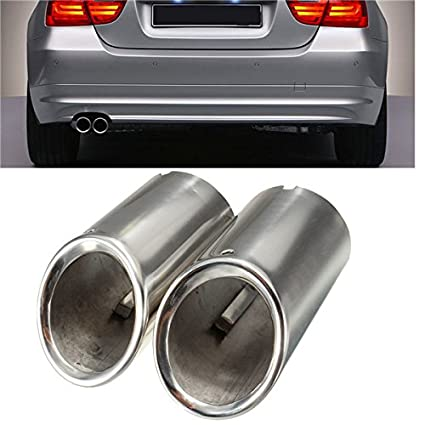 Outlet Exhaust Tip 2Pcs Tail Exhaust Tip Pipes Titanium Black for BMW E90 E92 325 328i 3 Series 06-10