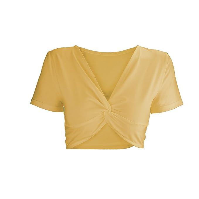 JYC Blusas Sexys de Mujer Verano, Mujer Ombligo Parte Superior Sólido Irregular Cuello EN V