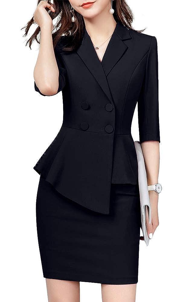 Blackqz1907 LISUEYNE Women's 2 Pieces Office Blazer Suit Work Blazer Jacket,Pant Skirt