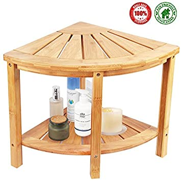 Amazon.com: Corner Shower Bench & Seat & Stool With 2-Tire Storage ...