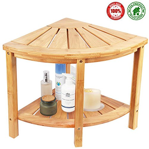 Corner Shower Bench & Seat & Stool With 2-Tire Storage Shelf, Durable & Stable Indoor and Outdoor Bench with 100% Bamboo- by Ecobambu