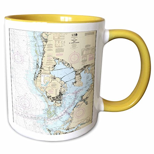 3dRose Florene - Nautical Map Décor - Print of Nautical Map Of Tampa Bay - 11oz Two-Tone Yellow Mug - Tampa Map Outlets