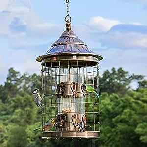 Hierro jaula de pájaro Alimentador de Alimentos al aire libre Alimentador automático, 30x 53cm