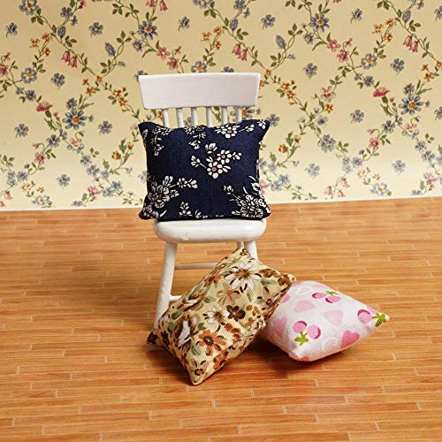 Agordo 3Color Flower Pillow Cushions for Sofa Couch Bed 1/12 Dollhouse Miniature Pop ()