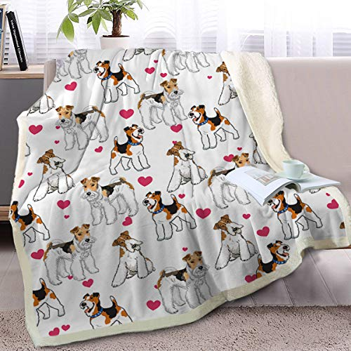 BlessLiving Miniature Schnauzer Dog Blanket Red Heart Puppy Print Sherpa Plush Blanket Fun Dogs Fleece Blanket Couch Throw (Throw, 50 x 60 Inches)