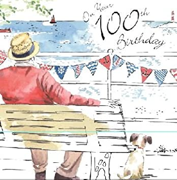 Twizler Happy 100th Birthday Card For Him With Silver Foiling And