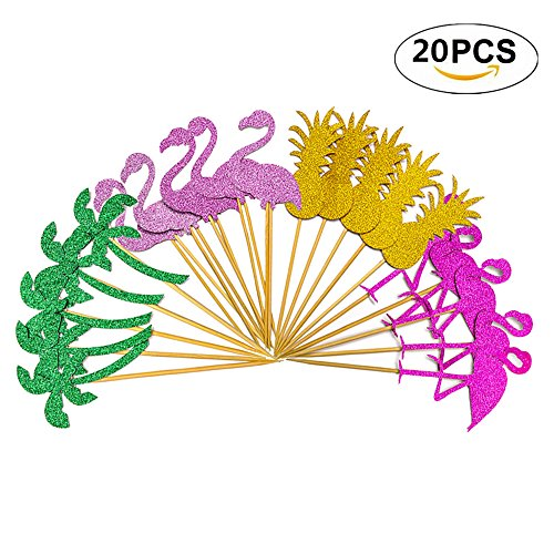 20 Pieces Cake Topper Flamingo Pineapple ,Hawaii Cake Topper Flamingo Decoration Flamingo Pineapple Coconut Palm,Wedding Beach Party Decoration,Picks Hawaii Luau Party Cake Decorations.