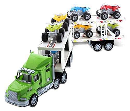 Mozlly Semi Trailer Truck Hauler Carrying Multiple Atv Trucks Miniature Set - Cool Transporter Toy Pulling And Loading Vehicles - Action Playsets For Boys Toddler Kids Present - Colors May (Double Action Trucks)