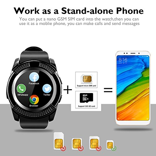 Bluetooth Smart Watch With Camera Waterproof Smartwatch Touch Screen Phone Unlocked Cell Phone Watch Smart Wrist Watch Smart Watches For Android Phones Samsung IOS i (black40) (Red14) by IFUNDA (Image #2)
