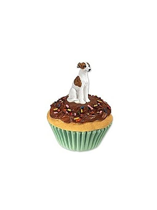 Figura decorativa de Galgo Inglés Brindle y blanco Pupcake tarro para dulces y golosinas