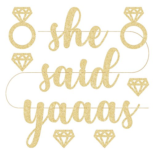 xo, Fetti She Said Yaaas Bachelorette Party Decorations Banner - Pre Strung | Bride Banners, Engagement Party Decoration and Bridal Shower Sign