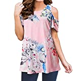 Xavigio_Women Tops Women's Floral Print Short Sleeve Cold Shoulder Tunic Tops Casual Loose Cami Blouse T-Shirt Pink
