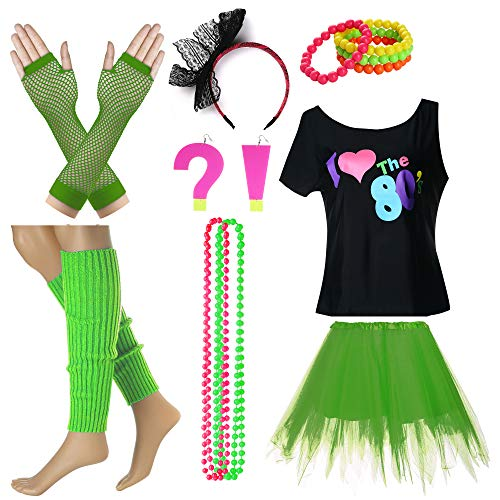 I Love The 80's T-Shirt Fancy Outfit Dress for 1980s Theme Party Supplies (M/L, Dark Green) ()