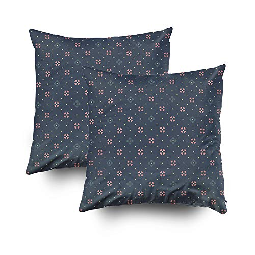 GROOTEY Abstract Art Pillow Cases, Square Pillow Cover Zip Couch Sofa Décor Boho Flowers Motif Ditsy Floral Print Daisy Pattern All Over Ornament Textile Wallpaper Fabric 20X20 2 Pack Throw Cushion
