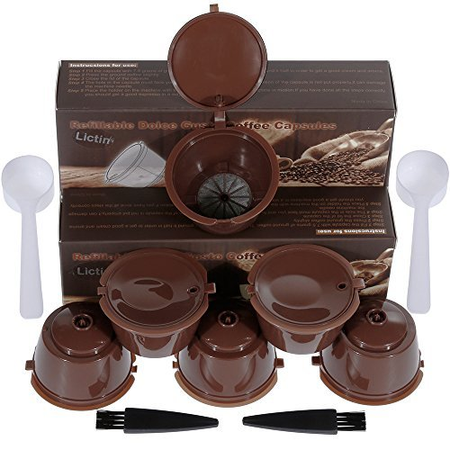 Lictin 6 Pack Cápsulas Filtros de Café Recargable Reutilizable para Cafetera Dolce Gusto Resistente Más de 150 Usos de...