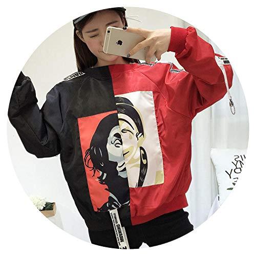 Summer-lavender Jackets Women Bomber Jacket Women's Hooded Basic Jacket Casual Thin Windbreaker,5380 red Black ()