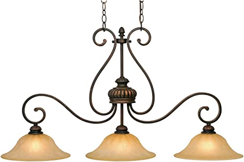 Golden Lighting 7116-10 LC Mayfair Linear Pendant, 42 in. W x 12 in. D x 21.5 in. H, Leather Crackle