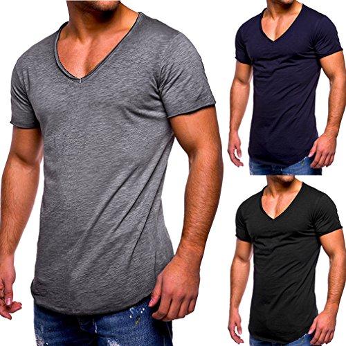 Collo T Degli Maglietta 4xl Casual V Corte Modo C4 Puro Lo M Colore Maniche Slim shirt Fitness Sport Uomo Tops Uomini xXvBwqdq