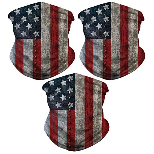 Sibosen 3 Pack American Flag Outdoor Face Mask - Seamless Microfiber Neck Gaiter