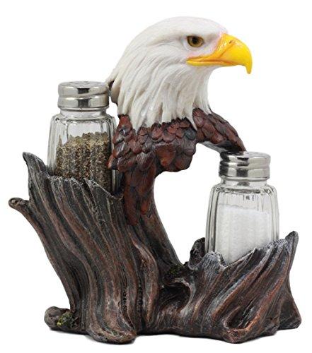 Ebros Gift Patriotic American Bald Eagle Glass Salt & Pepper Shakers Holder Figurine Decor 7