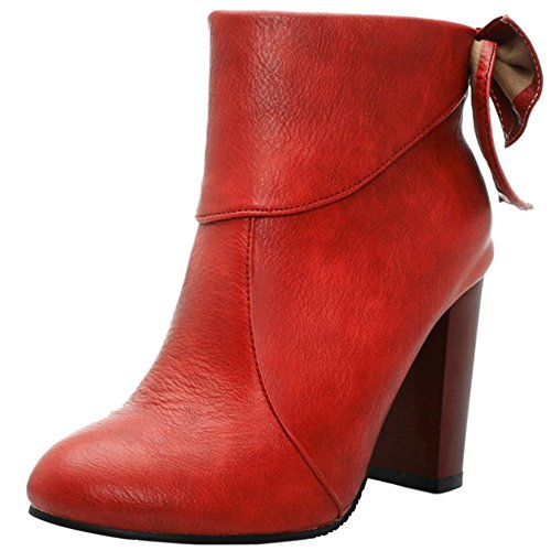Heel Dress Ladies KemeKiss Boots Red with Fashion Bowknot Zipper High Side Block wn0dYd1qr