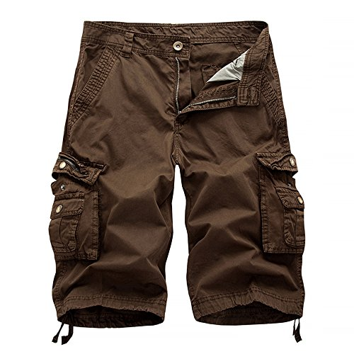 Hycsen Men's Casual Loose Fit Cargo Shorts, Straight Multi-Pocket Cotton Outdoor Wear-Brown-30
