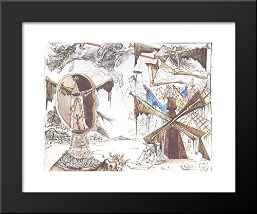Don Quixote and the Windmills 20x24 Framed Art Print by Salvador Dali