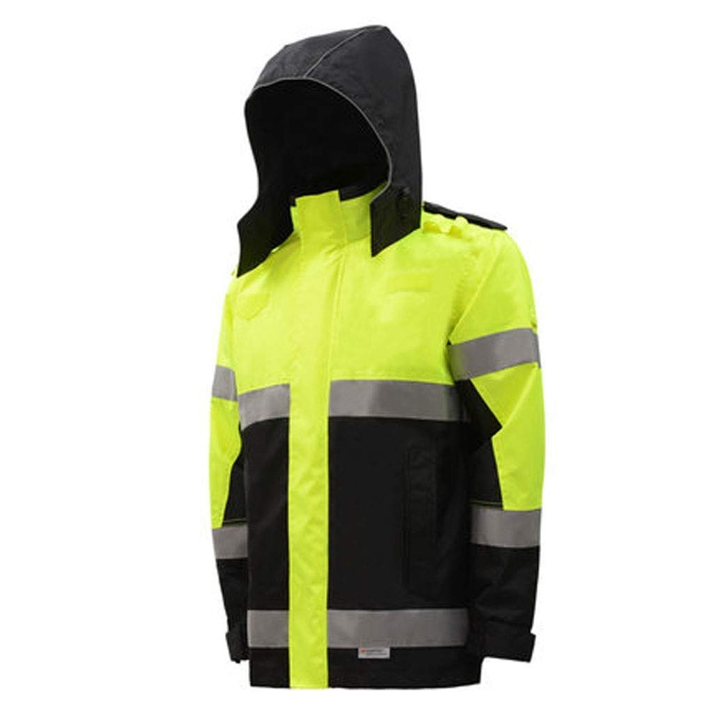 ZHF-Rainwear Clothing Reflective Raincoat, Hi Vis Visibility Riding Highway Traffic Protection Jacket Top Road Safety Waterproof Fluorescent Jacket Safety Clothing (Size : XX-Large)