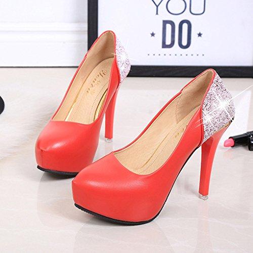Zapatos de LBDX de Otoño Redonda de Trabajo Delgado Poco Imitación Liso Sexy de Cabeza Color Boca Zapatos Individuales Profunda Tacón Rojo Diamantes 7Pq7r6w