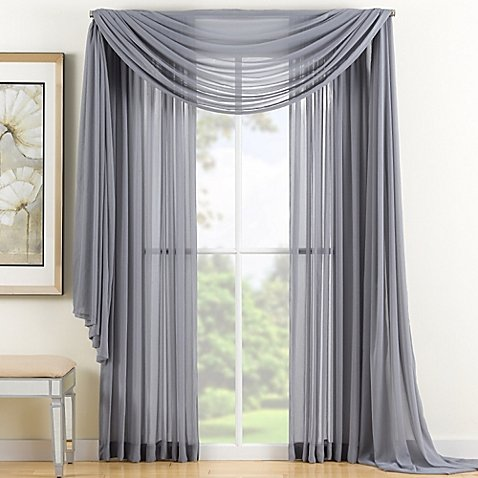 GorgeousHomeLinen 3PC Dark Grey 2 Sheers 84″ length Rod Pocket Window Curtain Panels & 1 Elegant Swag Scarf Valance 216″ length